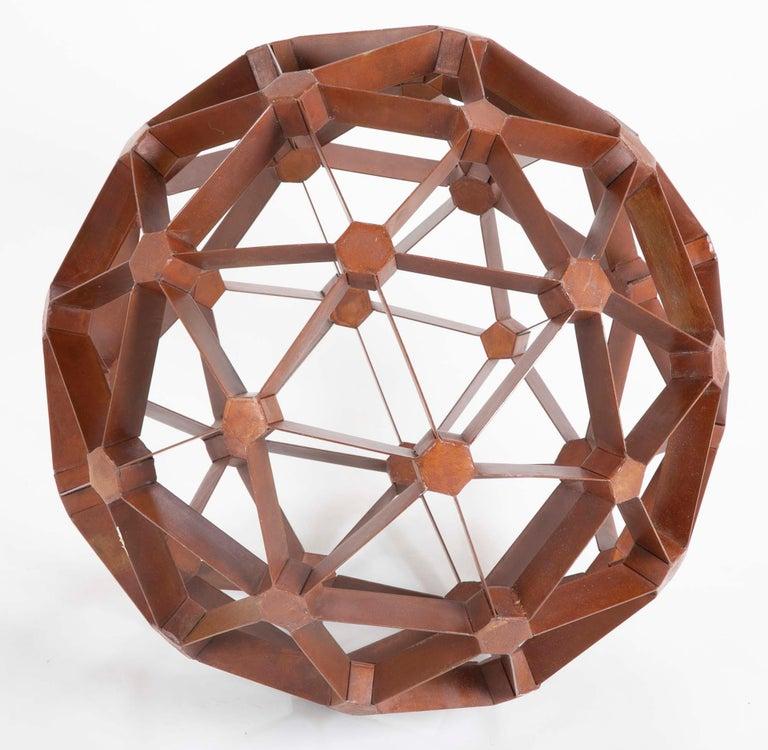 Modern Waxed Steel Geodesic Sphere For Sale