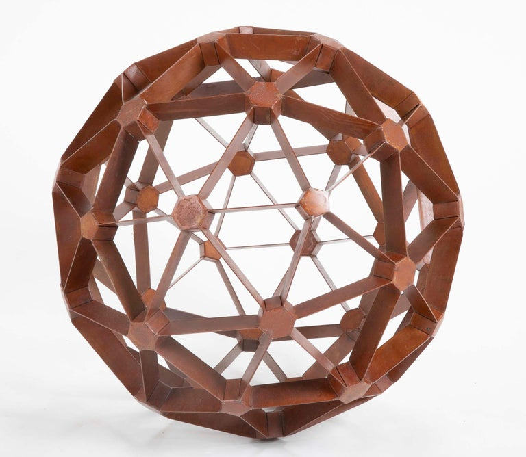 Waxed Steel Geodesic Sphere In Good Condition For Sale In Stamford, CT