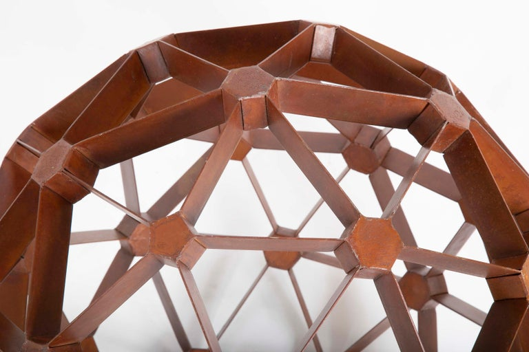Late 20th Century Waxed Steel Geodesic Sphere For Sale