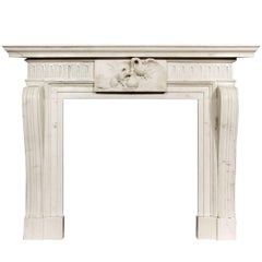 Well Carved Antique English Statuary White Marble Fireplace