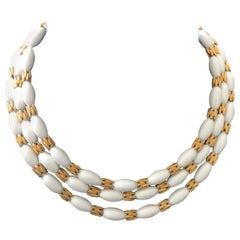 A White Lucite and Gilded Metal Choker Necklace by Trifari circa 1970