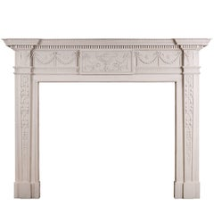 White Marble Fireplace in the Manner of Robert Adam