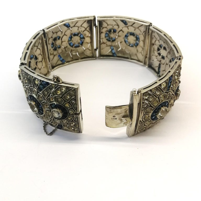 A wide silver, clear and sapphire paste Art Deco bracelet, France, 1920s 5