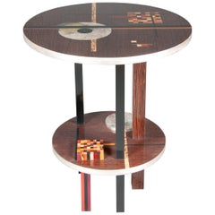 Wassily Kandinsky Inspired Colorful, Gilded, and Inlaid Round Wenge Side Table