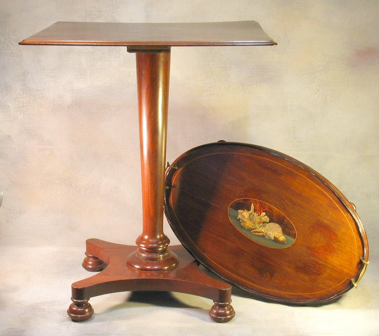 William IV Mahogany Occasional Table circa 1830 with George III Mahogany Tray For Sale 8