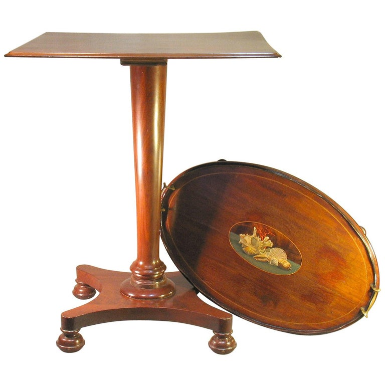 William IV Mahogany Occasional Table circa 1830 with George III Mahogany Tray For Sale