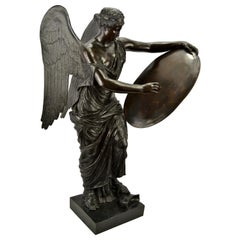 Winged Victory Bronze with a Tablet Shield by Prof A. Zocchi