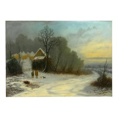 """""""A Winter Walk"""" Landscape Oil Painting by William T. Such"""