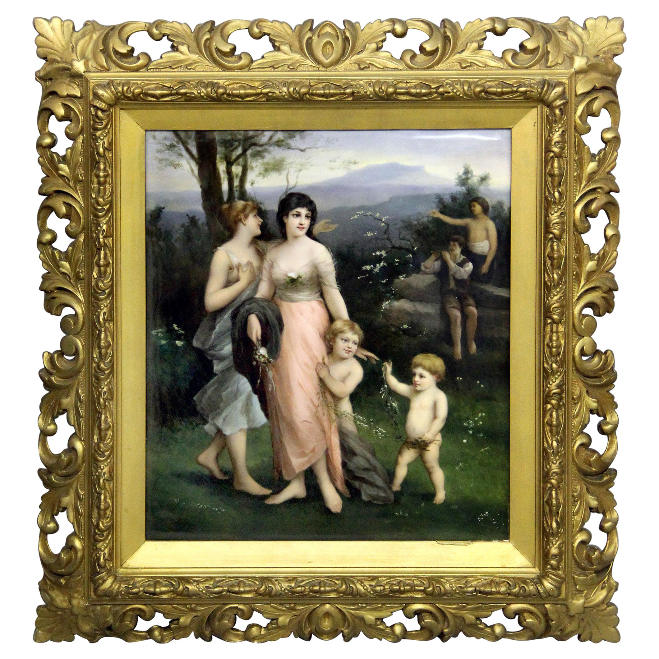Wonderful Late 19th-Early 20th Berlin K.P.M. Porcelain Rectangular Plaque