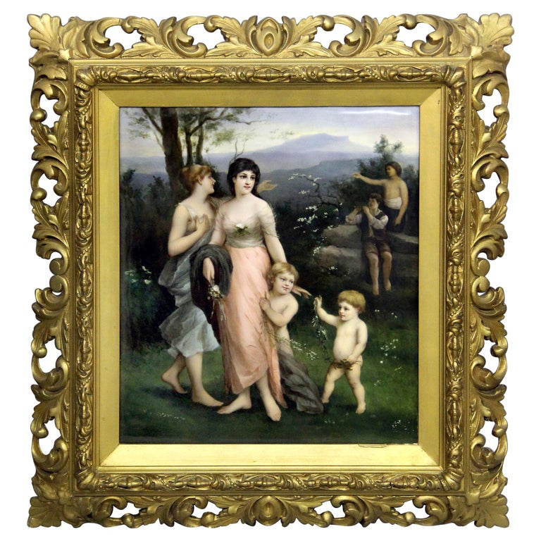 Wonderful Late 19th-Early 20th Berlin K.P.M. Porcelain Rectangular Plaque For Sale
