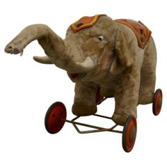 Wonderful Old French Pull Along Circus Elephant