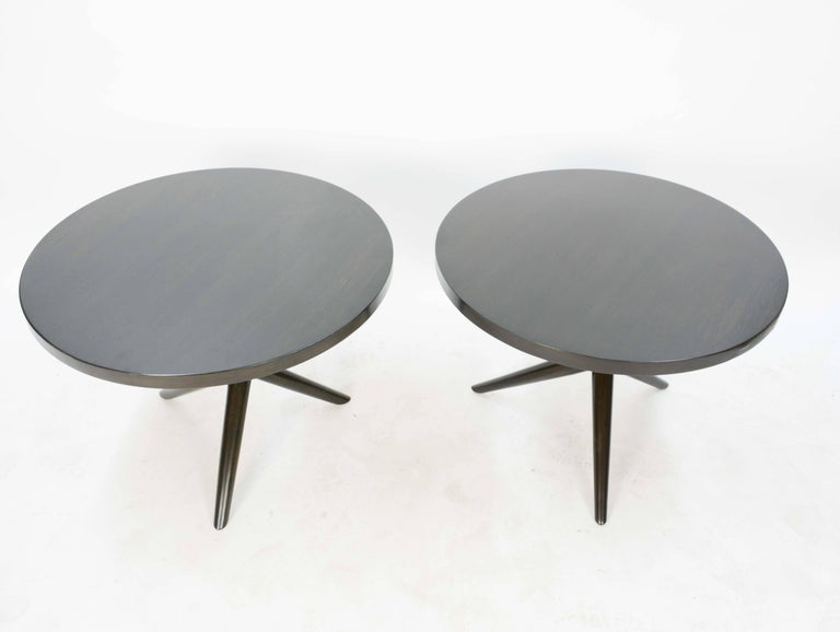 The wonderful side tables are from Gibbings line for Widdicomb and have been lacquered in a deep black brown. The form is elegant for any room or office. Both are dated and have their model number. One of the tables has the Widdicomb label with the