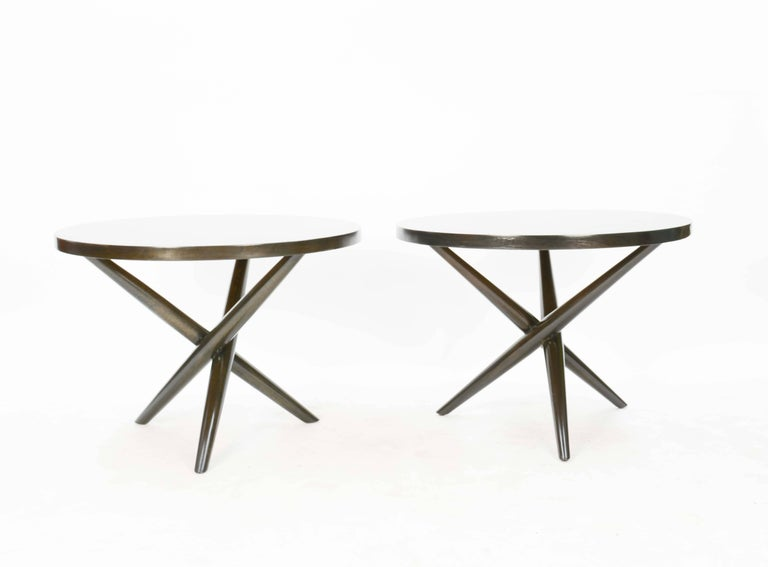 American Wonderful Pair of T.H. Robsjohn-Gibbings Jacks Side Table for Widdicomb For Sale