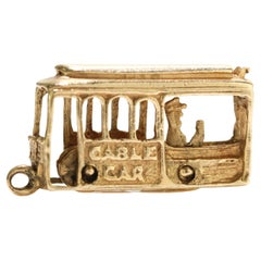 Wonderful Vintage 14kt. Yellow Gold Cable Car Charm