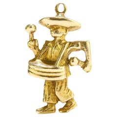 Wonderful Vintage 14kt. Yellow Gold Drummer Charm