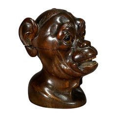 Wooden Carved Lidded Box in the Shape of an Ape