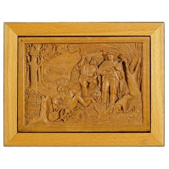 Wooden Micro Carving Plaque by Johann Rint, circa 1880