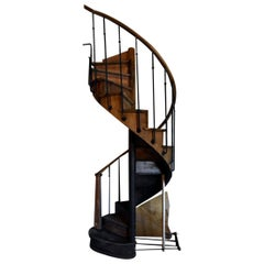 Wooden Spiral Staircase with Wrought Iron Balusters, 19th Century