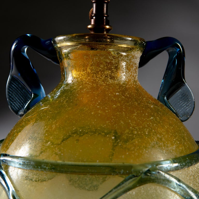 Yellow and Blue Murano Glass Vase as a Table Lamp In Good Condition For Sale In London, GB