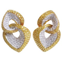 Yellow Diamond and White Diamond Earring in 18 Karat Yellow Gold and White Gold