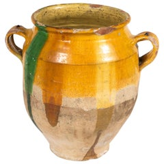 Yellow Glazed Confit Pot with Green Markings and Handles