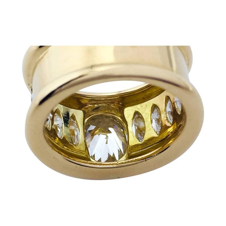 Contemporary René Boivin Oval Diamond Gold Ring For Sale