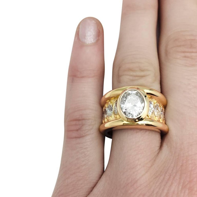 Oval Cut René Boivin Oval Diamond Gold Ring For Sale