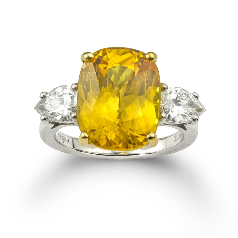 Modern Yellow Sapphire and Diamond Ring For Sale