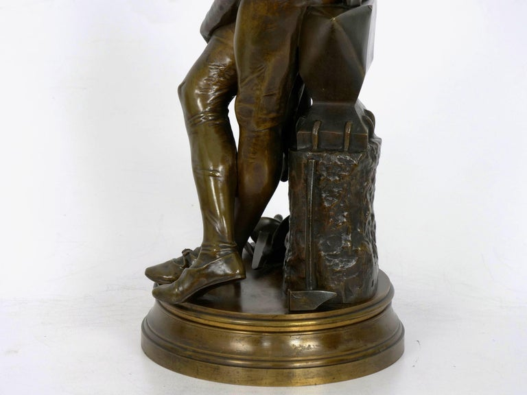 """A Young Bladesmith"" French Antique Bronze Sculpture by Adrien-Étienne Gaudez For Sale 9"