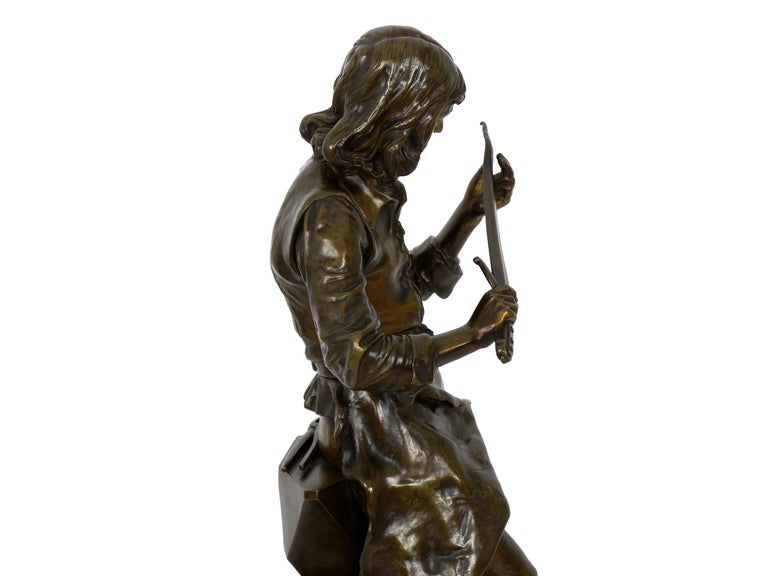 """A Young Bladesmith"" French Antique Bronze Sculpture by Adrien-Étienne Gaudez For Sale 14"