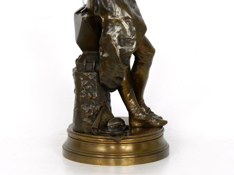 """A Young Bladesmith"" French Antique Bronze Sculpture by Adrien-Étienne Gaudez For Sale 15"