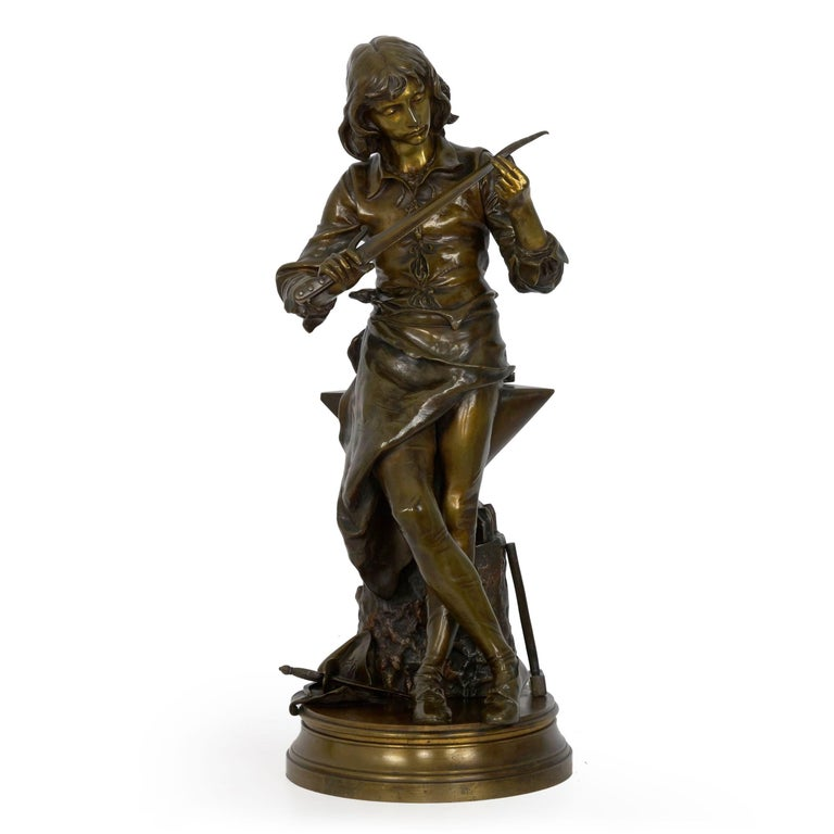 An exceedingly well-cast model of a blacksmith's apprentice assessing a damaged sword, the technical precision of the foundry work is notable. There is a complexity to the lost-wax model that extends to the patination, utilizing a nearly gold in the