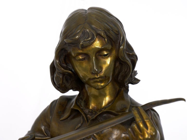 """A Young Bladesmith"" French Antique Bronze Sculpture by Adrien-Étienne Gaudez For Sale 16"