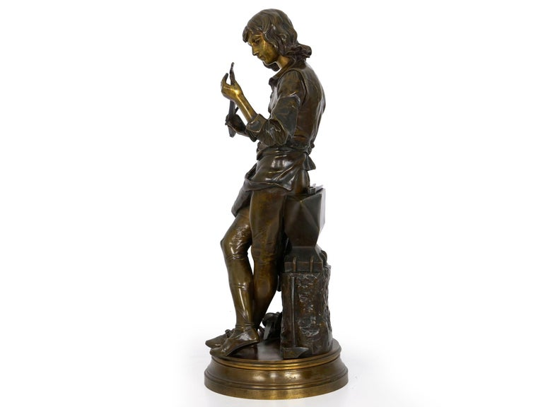 """A Young Bladesmith"" French Antique Bronze Sculpture by Adrien-Étienne Gaudez In Good Condition For Sale In Shippensburg, PA"