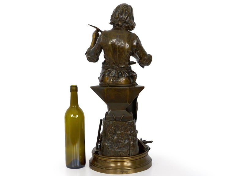 "19th Century ""A Young Bladesmith"" French Antique Bronze Sculpture by Adrien-Étienne Gaudez For Sale"