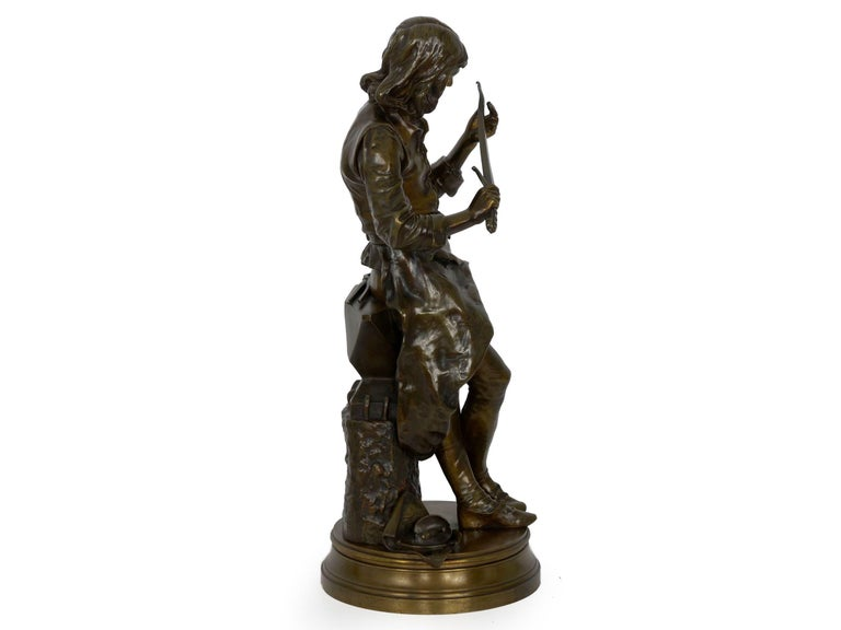 """A Young Bladesmith"" French Antique Bronze Sculpture by Adrien-Étienne Gaudez For Sale 1"