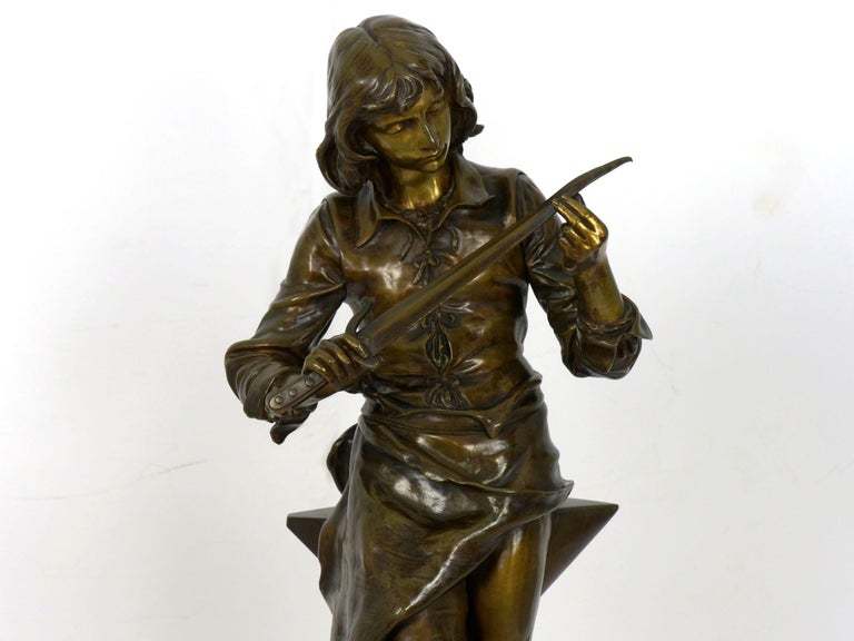"""A Young Bladesmith"" French Antique Bronze Sculpture by Adrien-Étienne Gaudez For Sale 2"