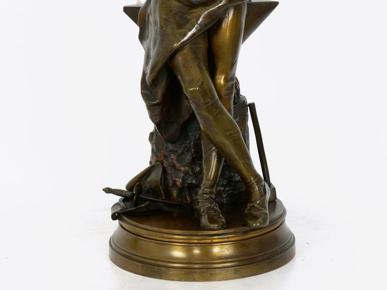"""A Young Bladesmith"" French Antique Bronze Sculpture by Adrien-Étienne Gaudez For Sale 3"