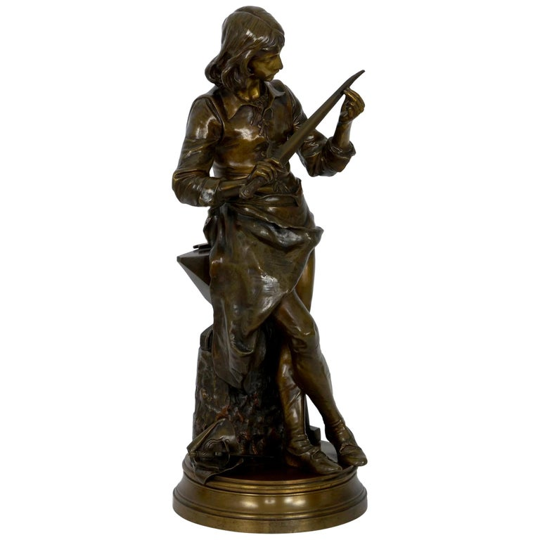 """A Young Bladesmith"" French Antique Bronze Sculpture by Adrien-Étienne Gaudez For Sale"