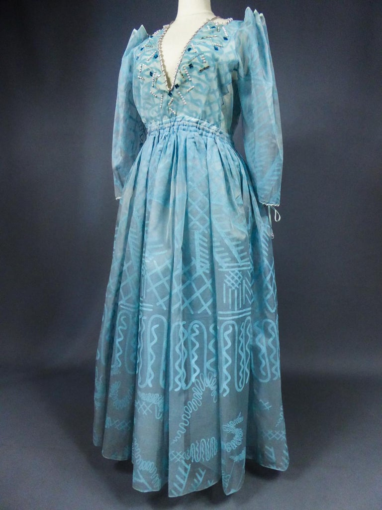 A Zandra Rhodes Evening Dress in Printed Organza - Fortuny Influence- Circa 1980 For Sale 6