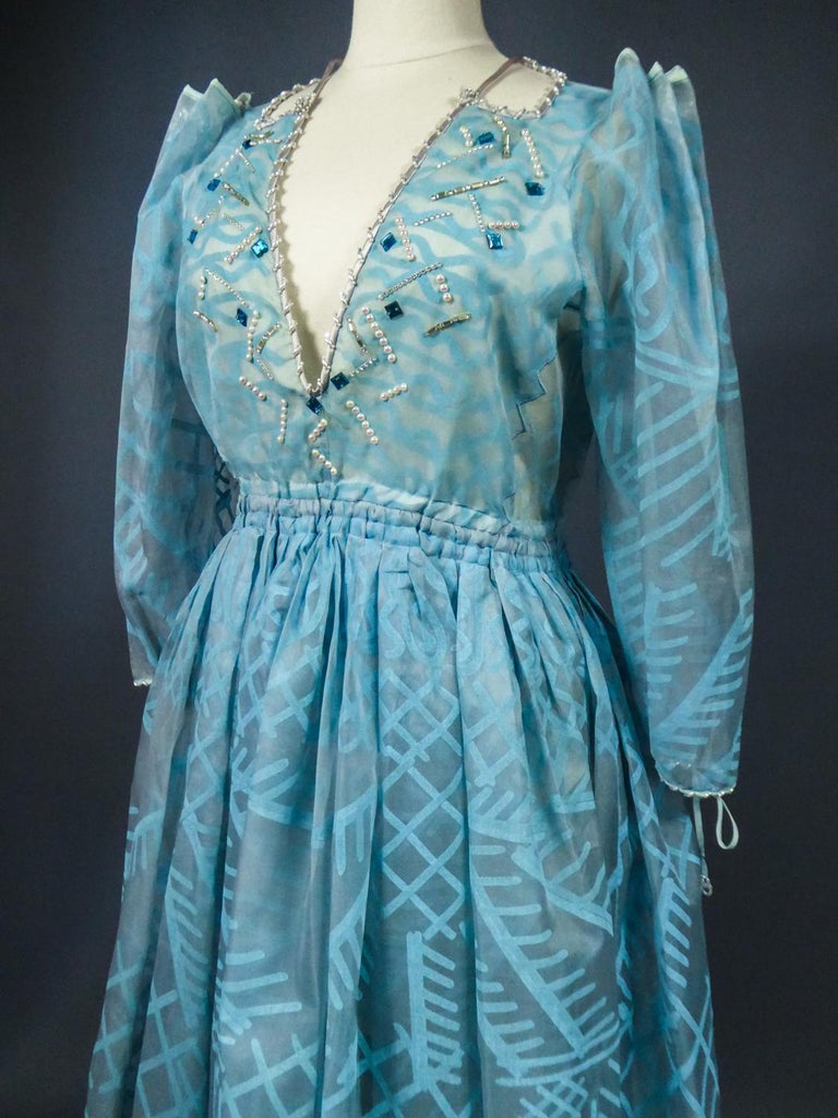 A Zandra Rhodes Evening Dress in Printed Organza - Fortuny Influence- Circa 1980 For Sale 7