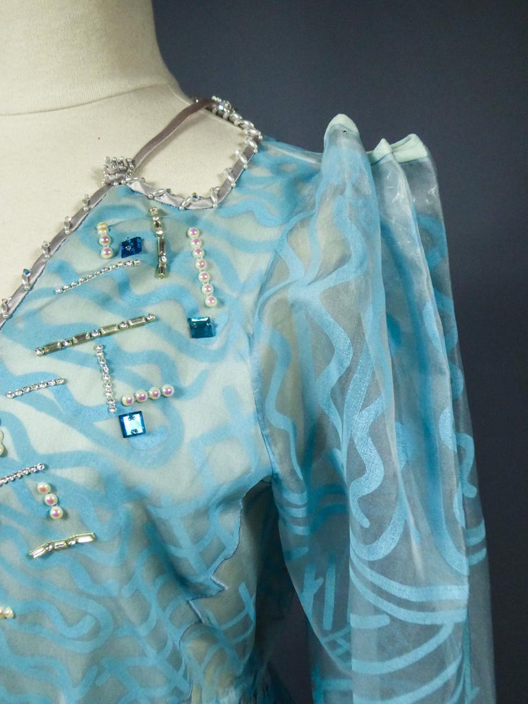 A Zandra Rhodes Evening Dress in Printed Organza - Fortuny Influence- Circa 1980 For Sale 8