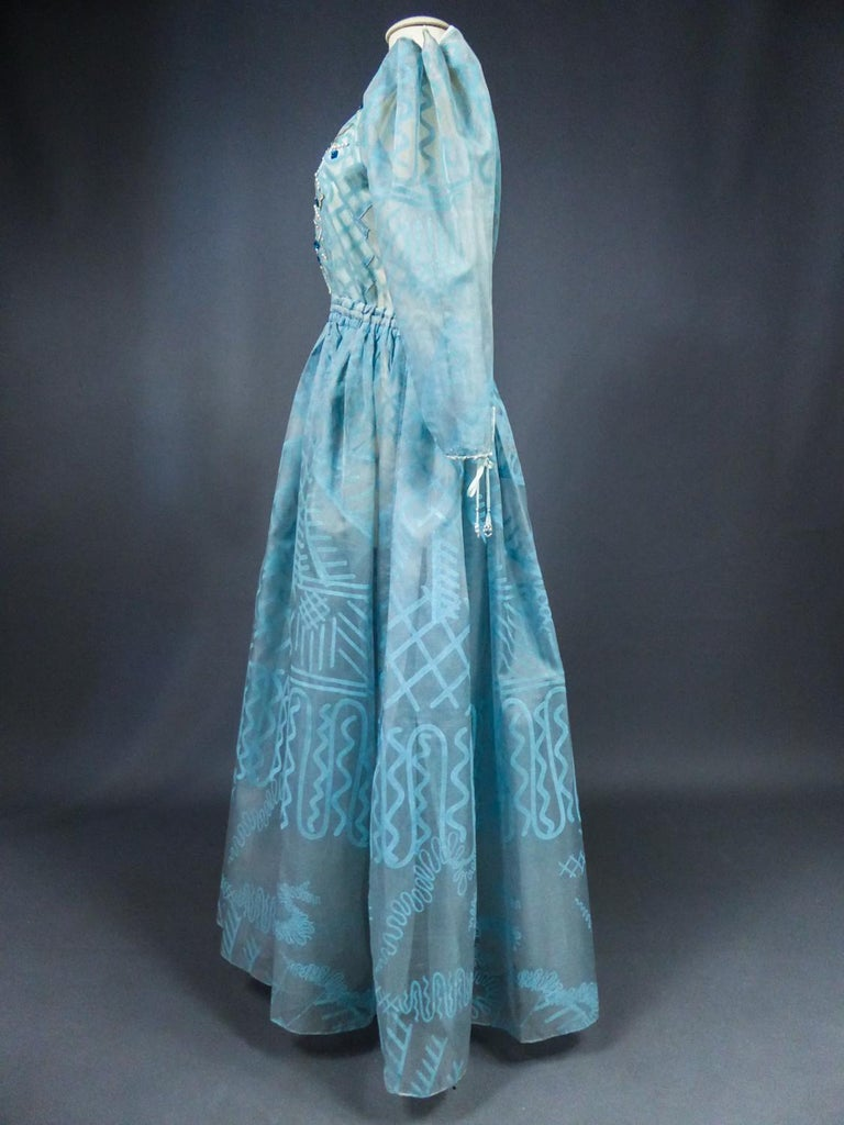 A Zandra Rhodes Evening Dress in Printed Organza - Fortuny Influence- Circa 1980 For Sale 9