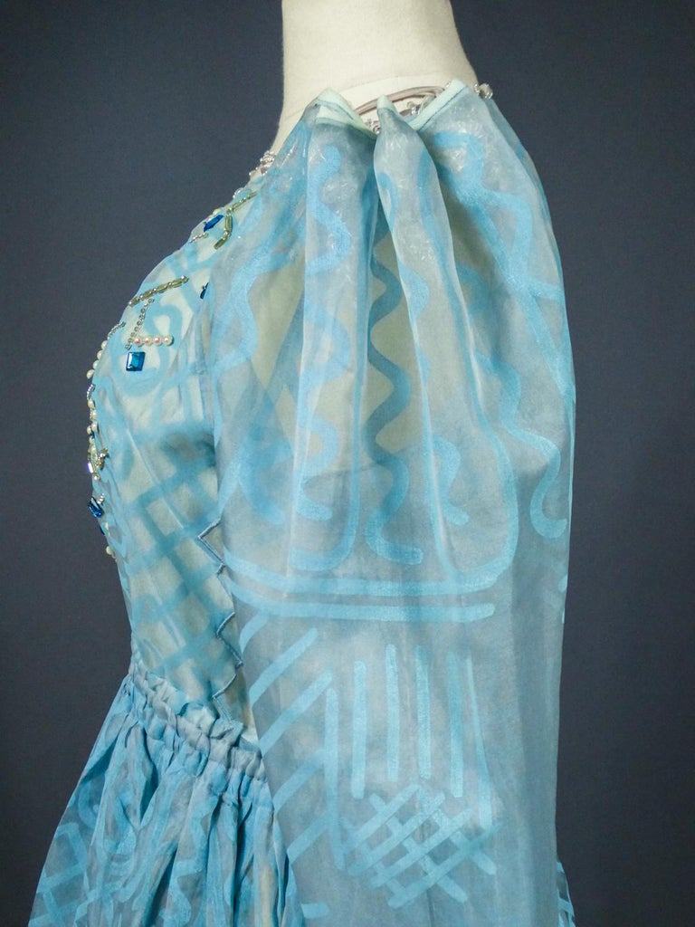A Zandra Rhodes Evening Dress in Printed Organza - Fortuny Influence- Circa 1980 For Sale 10