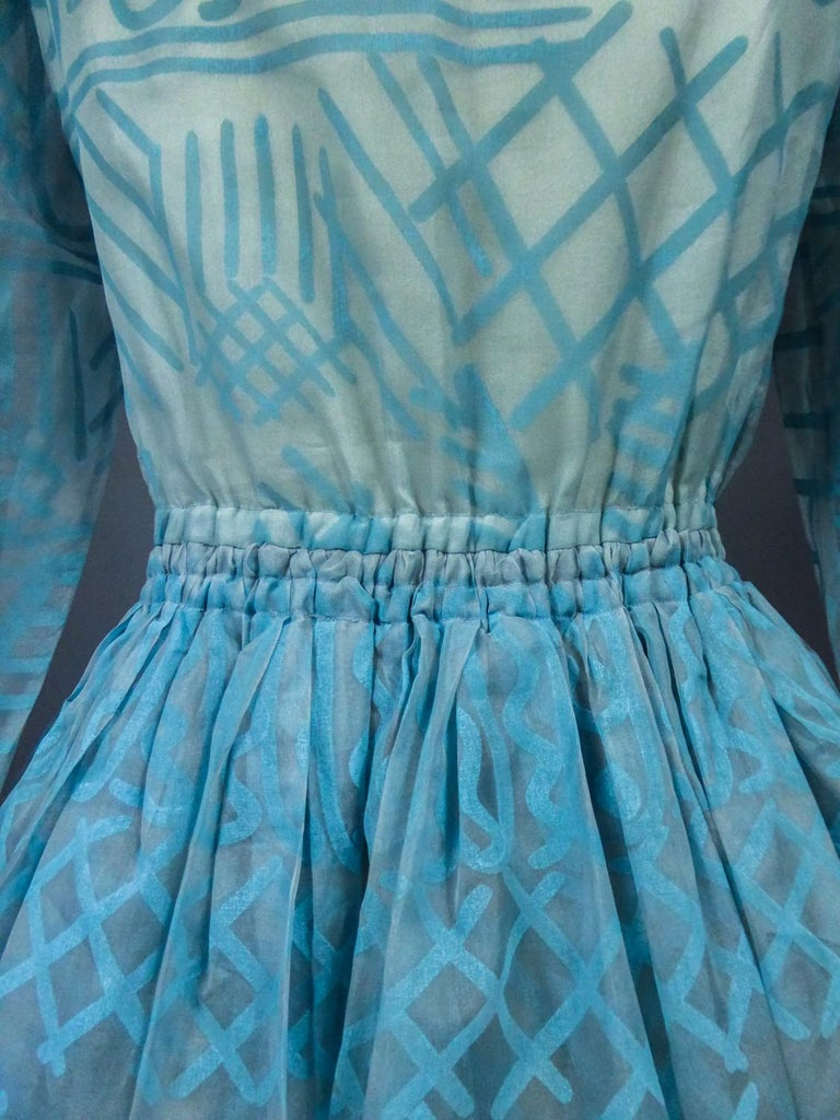 A Zandra Rhodes Evening Dress in Printed Organza - Fortuny Influence- Circa 1980 For Sale 15