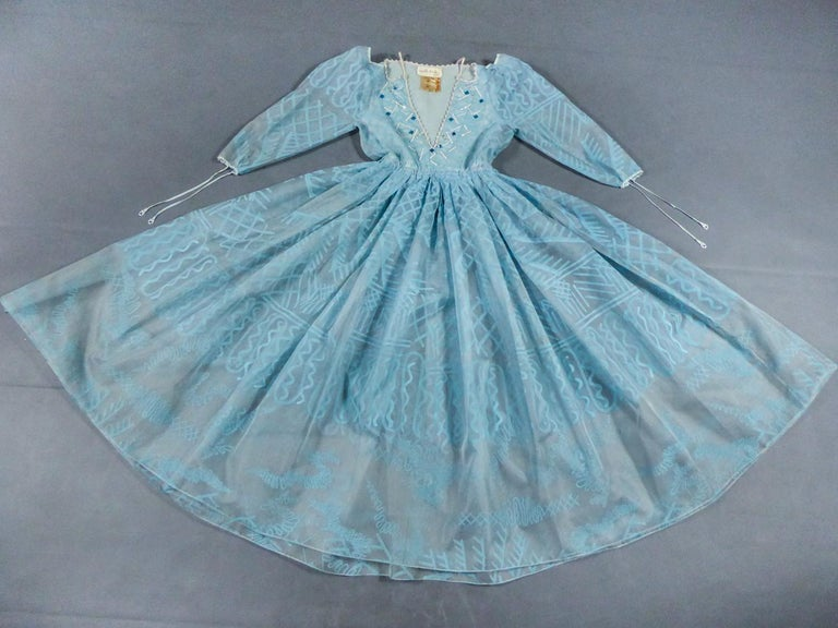 Blue A Zandra Rhodes Evening Dress in Printed Organza - Fortuny Influence- Circa 1980 For Sale