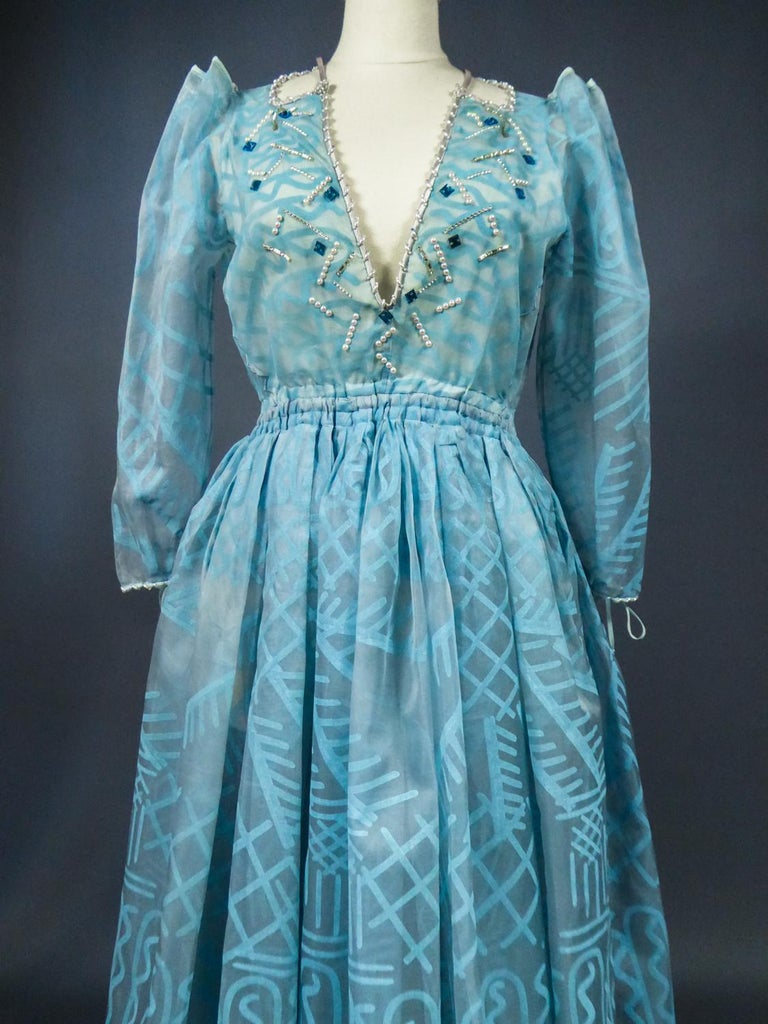 A Zandra Rhodes Evening Dress in Printed Organza - Fortuny Influence- Circa 1980 For Sale 1