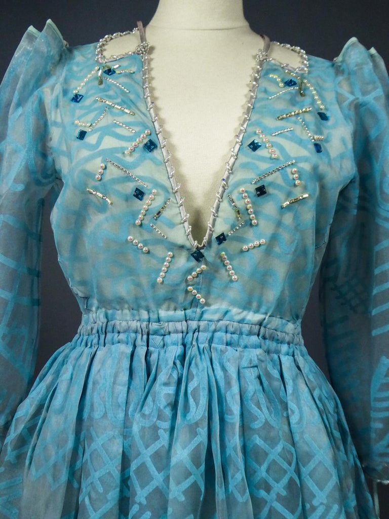 A Zandra Rhodes Evening Dress in Printed Organza - Fortuny Influence- Circa 1980 For Sale 2