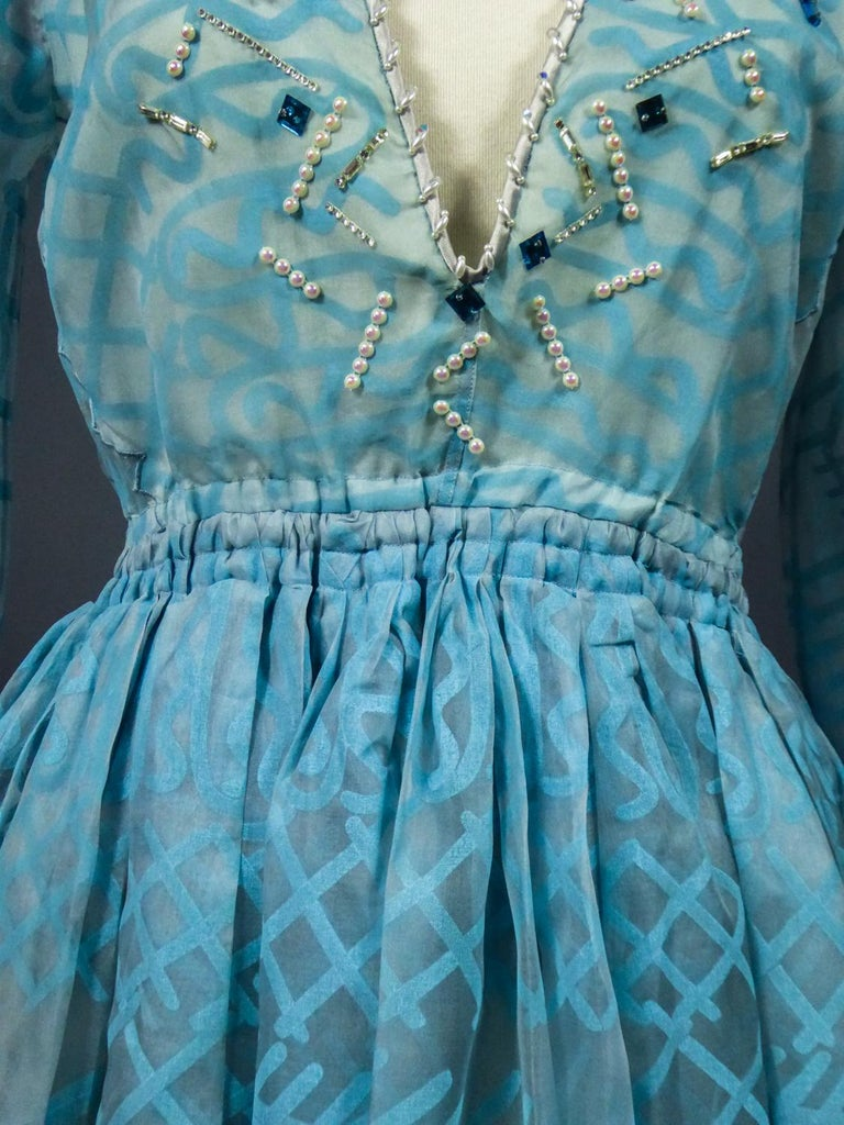 A Zandra Rhodes Evening Dress in Printed Organza - Fortuny Influence- Circa 1980 For Sale 4