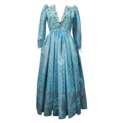 A Zandra Rhodes Evening Dress in Printed Organza - Fortuny Influence- Circa 1980